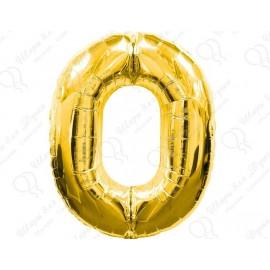 Фольгированная цифра 0, золото.