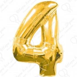 Фольгированная цифра 4, золото.