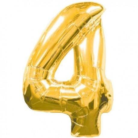 Фольгированная цифра 4, золото. 102 см.