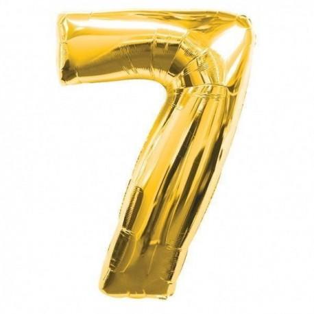 Фольгированная цифра 7, золото. 102 см.