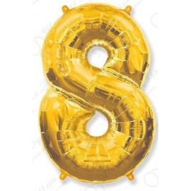 Фольгированная цифра 8, золото.