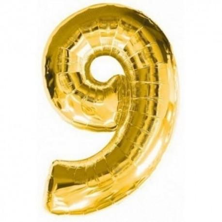 Фольгированная цифра 9, золото. 102 см.