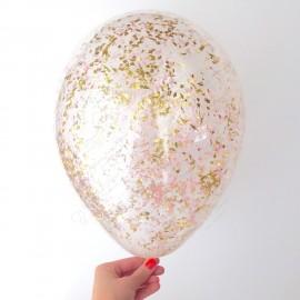 Воздушный шар 30 см с конфетти - золото мелкое.