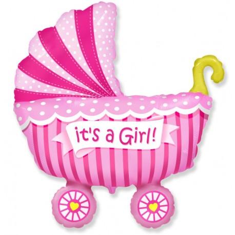 Фигурный шар - Коляска для девочки. 102 см.