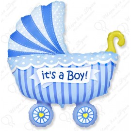 Фигурный шар - Коляска для мальчика.