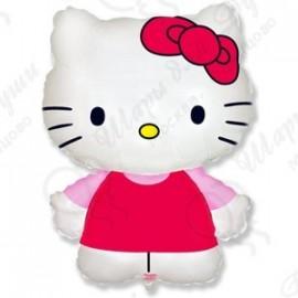 Фигурный шар - Котенок с бантиком, розовый.