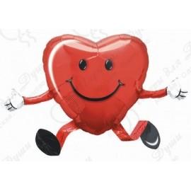Фольгированное сердце - Сердечко малое, красное. 48 см.